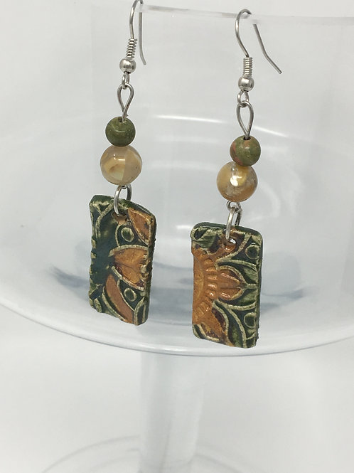 Porcelain and stainless steel earrings