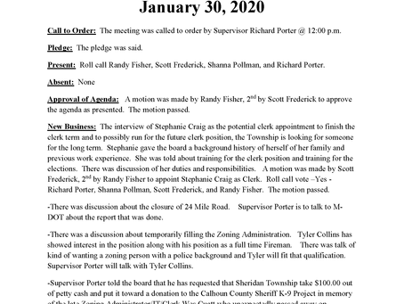 Board of Trustee's Special Meeting: January 30, 2020