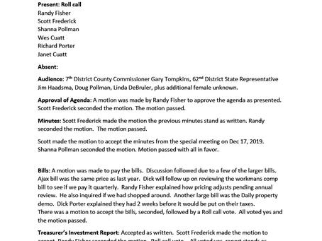 Township Meeting: January 21, 2020