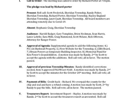 Township Board Meeting Minutes: November 17, 2020