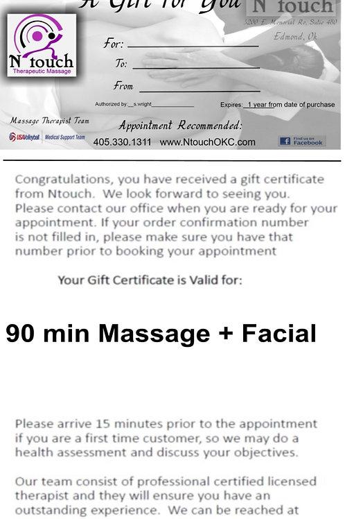 90 min Massage plus facial