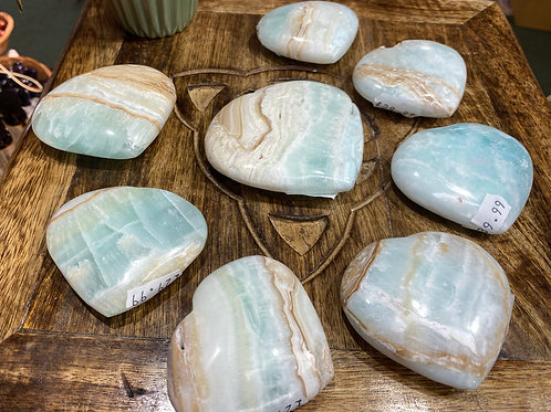 Heart: Caribbean Calcite /Hemimorphite Medium