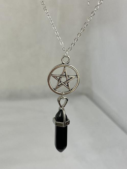 Obsidian pentagram Pendant Point