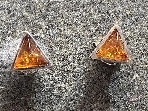 Gemstone Earring Studs: Amber