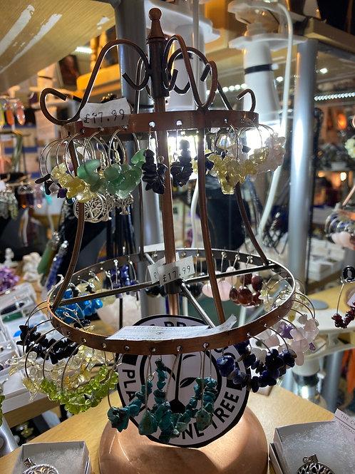 Natural Gemstone Earring hoops
