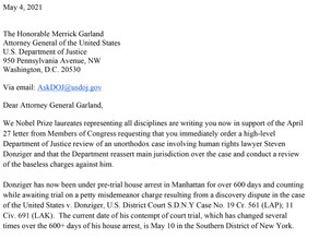 Letter from Nobel Laureates to Attorney General Garland