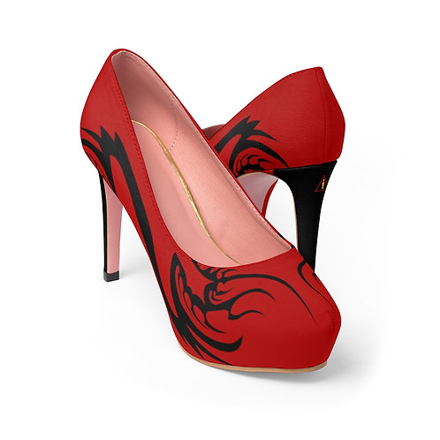 WLA-Design Red Fractals Women's Platform Heels by Warning Label Apparel