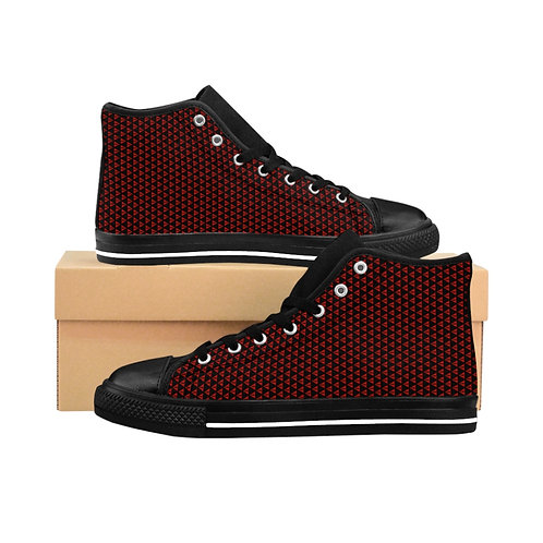 WLA-Design triangle-checkered Men's High-top Sneakers by Warning Label Apparel