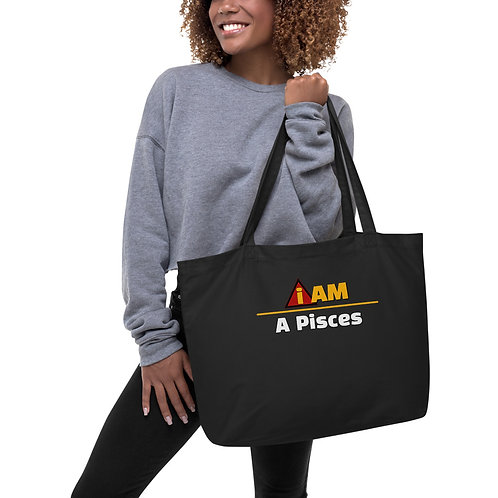 i am a pisces Large organic tote bag