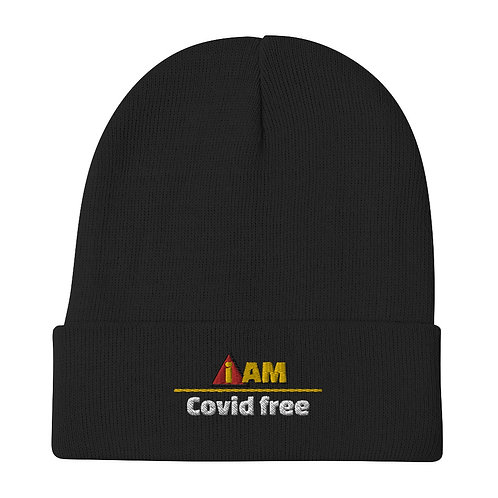 i am covid free Embroidered Beanie