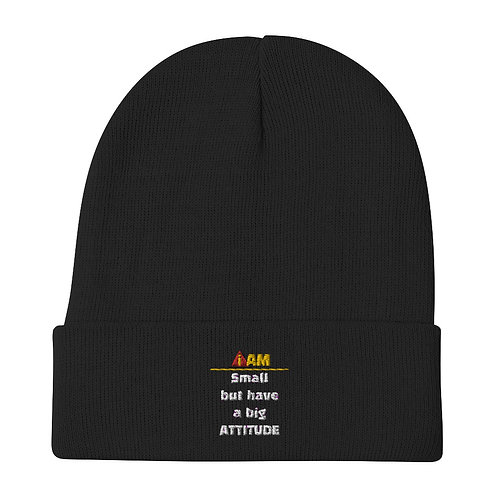 i am small but have a big attitude Embroidered Beanie