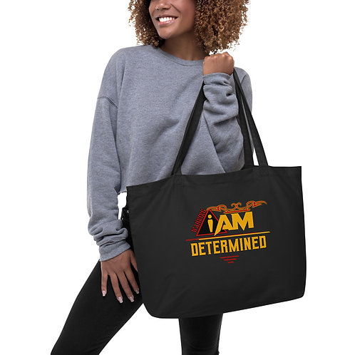i am determined Large organic tote bag