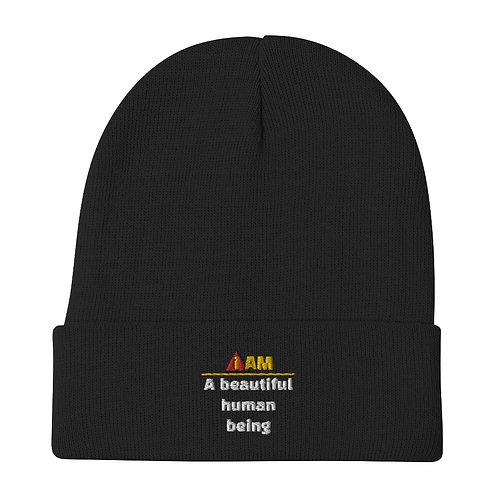 i am a beautiful person Embroidered Beanie