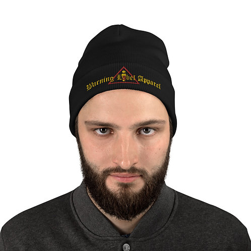 warning label apparel Embroidered Beanie