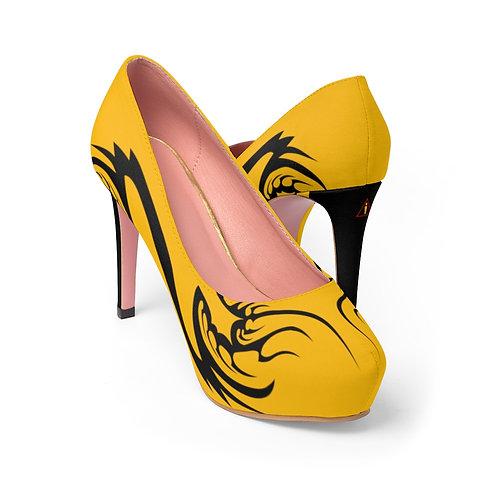 WLA-Design Gold Fractals Women's Platform Heels by Warning Label Apparel