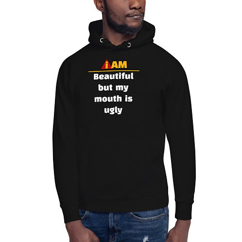 i am beautiful but my mouth is ugly men's Hoodie