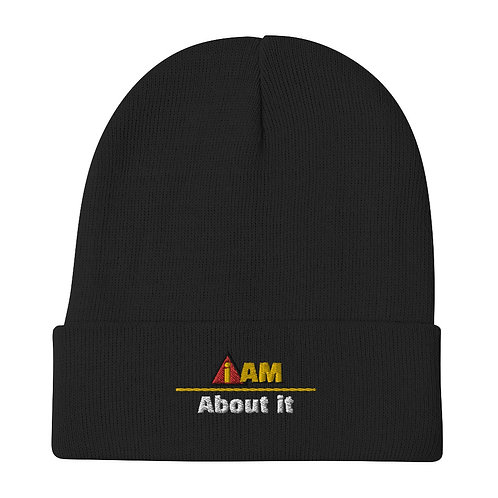 i am about it Embroidered Beanie
