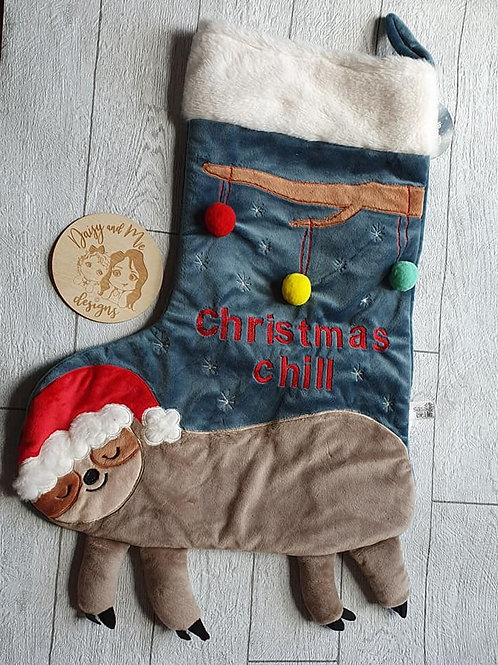 Personalised Sass and Bell sloth stocking