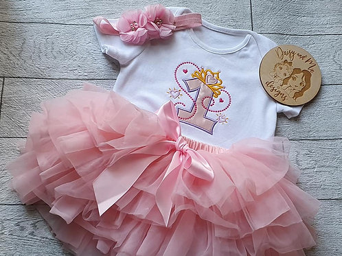 Baby Pink tutu  and short sleeve vest
