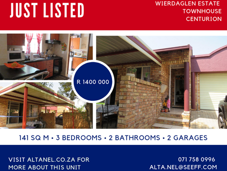 Private townhouse with large garden for sale in Wierda Glen Estate - R1 400 000.