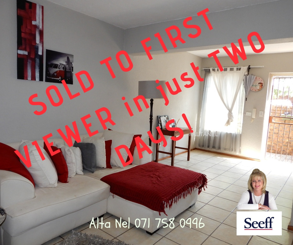 2 bedroom Townhouse sold in 2 days, Hennopspark, Estate agent Hennopspark, Estate agent ELdoraigne