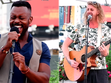Josh Breckenridge & Aaron LaVigne treat Times Square to live music for Broadway Buskers