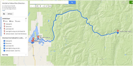 Route 3: McCall>LickCreekRd>YellowPine