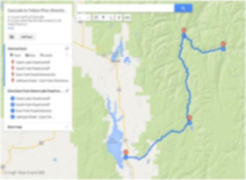 Route 2: Cascade>SouthForkRd>YellowPine