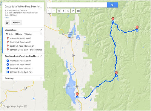 Route 2: Cascade>SouthForkRd>YellowPine