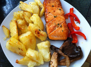 Baked salmon fillet with baked vegetables