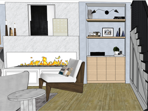 3D Model of built-in custom joinery with open shelving and sconce. Large modern marble fireplace with artwork. Pierre Jeanneret Kangaroo chairs. Designed by Krista Collard Interiors.