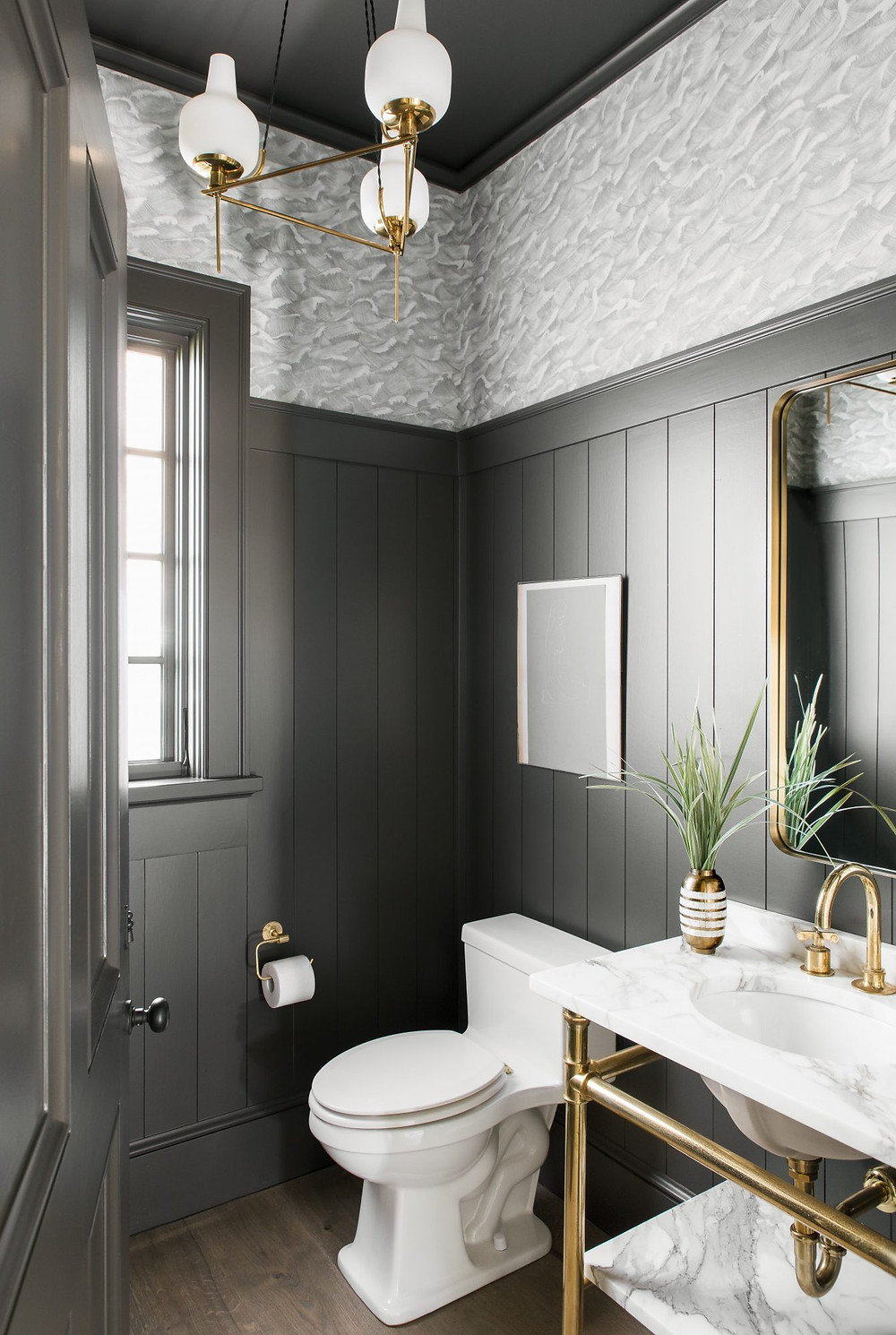 Charming bright and airy Modern Farmhouse Powder Room. Brass Ceiling Pendant. Black Shiplap Walls. Wave Wallpaper. Brass Hardware. Brass and Marble Vanity. Timber Floors.