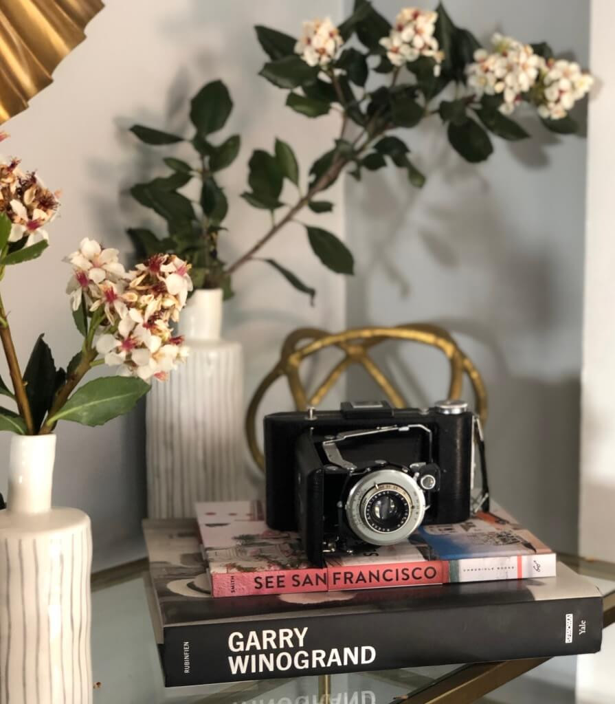 Vintage camera atop See San Fransisco and Gary Winogrand coffee table books. Vintage interior Vignette