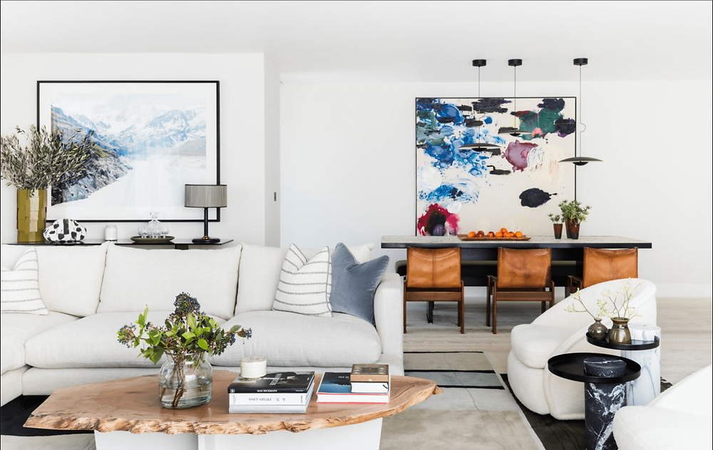 Bright Airy Interior with vibrant abstract art.