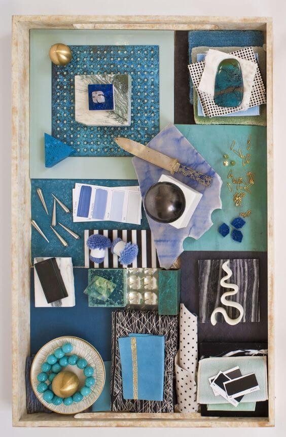 Material board by Kelly Wearstler. Blue, Turquoise and Aqua colour story. Create a colour palette.