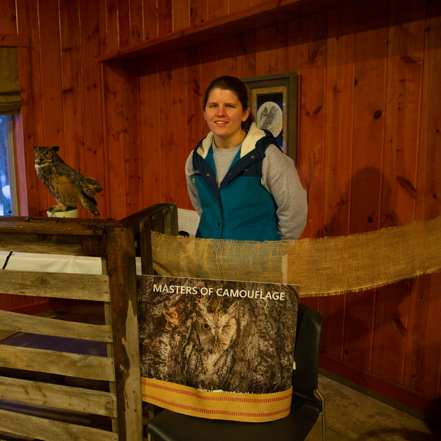Mary, with Avian Ambasador Seymour, Great Horned Owl