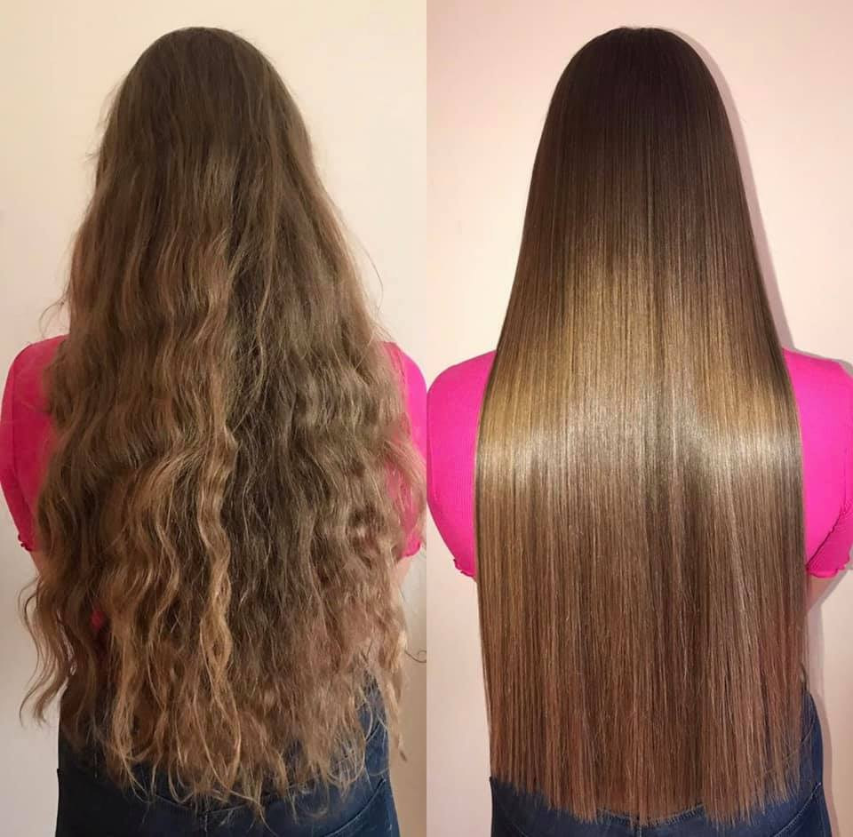 Keratin Hair treatment before and after