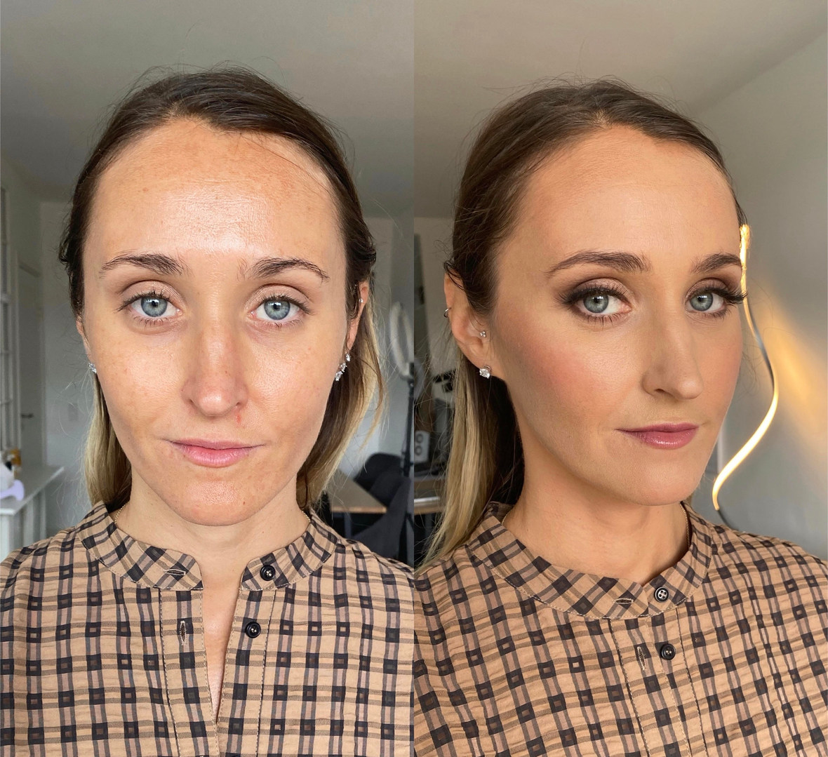 Bridal Makeup before and after in Copenhagen