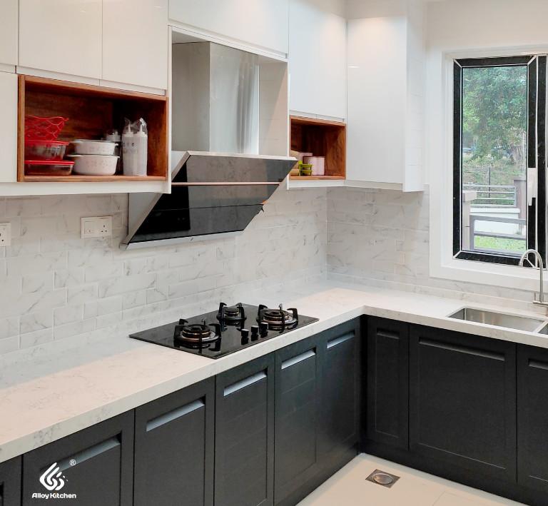 Dark Grey Woodgrain Aluminium Kitchen Cabinet