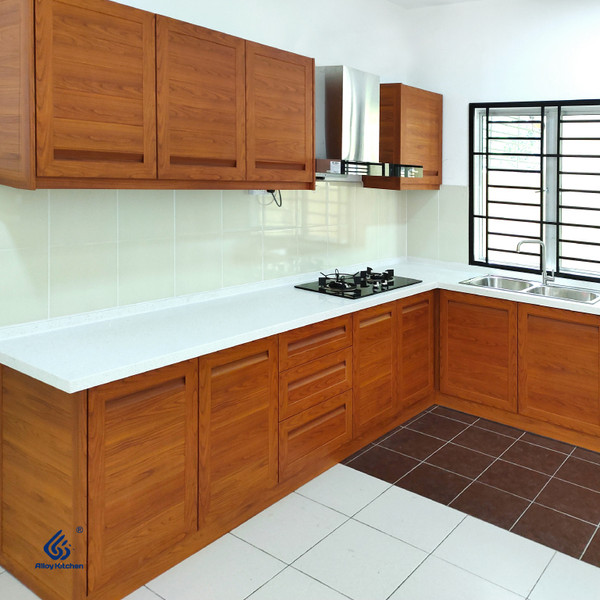 Oak Woodgrain Aluminium Kitchen Cabinet