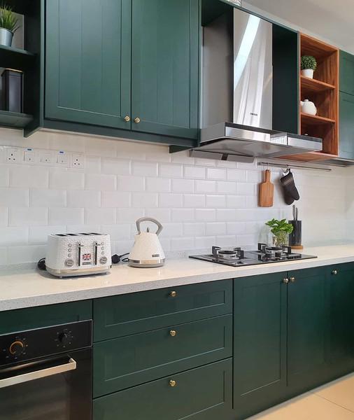 Tex Green Woodgrain Aluminium Kitchen Cabinet