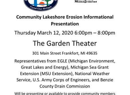 Community Lakeshore Erosion Information Presentation, March 12, 6pm Garden Theater, Frankfort