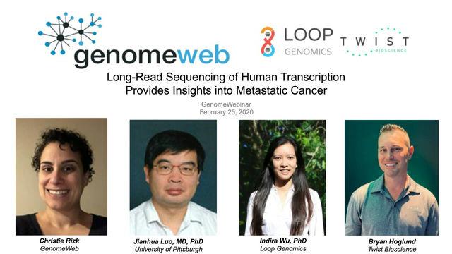 Webinar: Long-Read Sequencing of Human Transcription Provides Insights into Metastatic Cancer