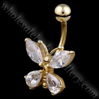 9ct Butterfly Belly Bar (9N23)