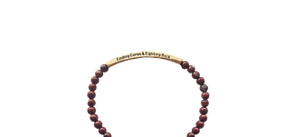 """Red Jasper bracelet with Gold bar packed with crystals On the side """"Finding cures & Fighting Back"""""""