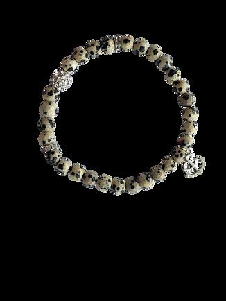 Dalmatian Jasper beaded stretch bracelet with dangling anchor charm