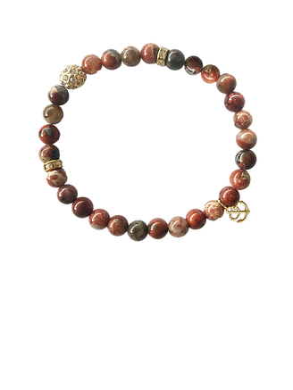 Red Jasper beaded circle stretch bracelet with dangling gold anchor charm