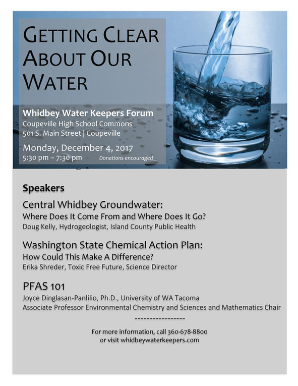 December 4 Whidbey Water Keepers Forum:  Getting Clear About Our Water