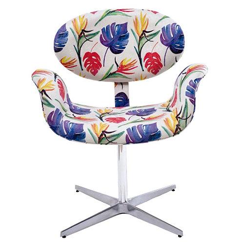 Cadeira tulipa giratória com base em alumínio.