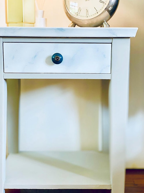 Taupe & Marble Painted Effect Side Table